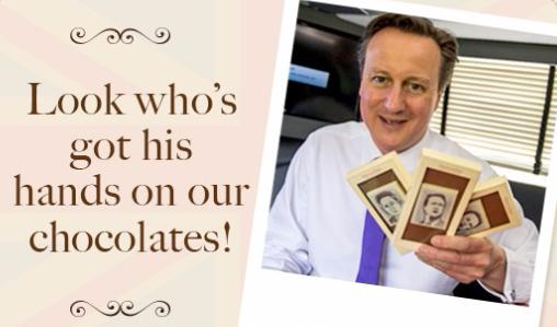 British PM with Choc on Choc election chocolates